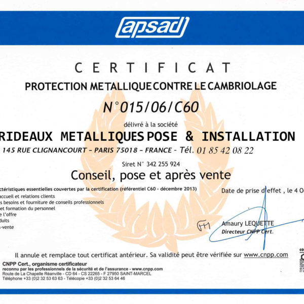 certificat protection metallique contre combriolage